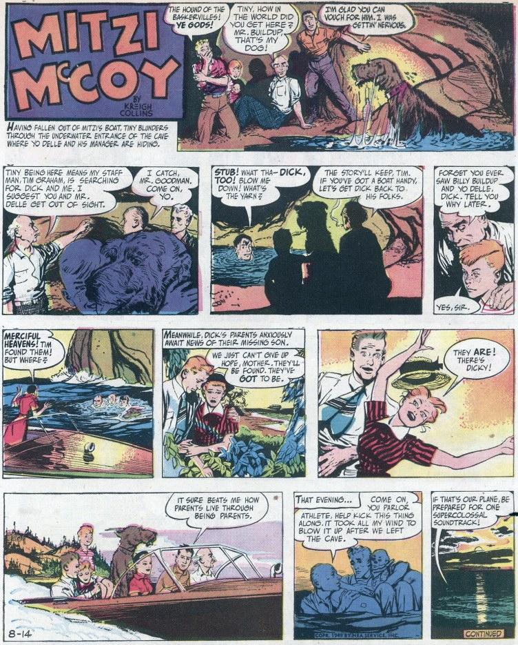 Söndagsserien från 14 augusti 1949 (helsida). ©NEA