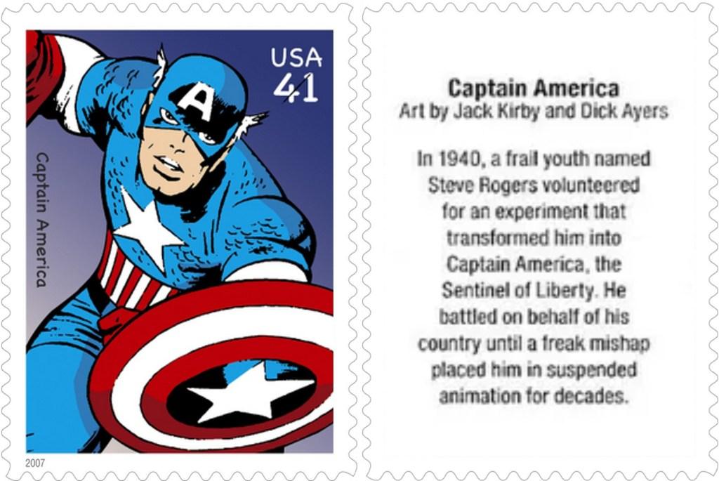 Frimärket med Captain America (2007). ©USPS/Marvel