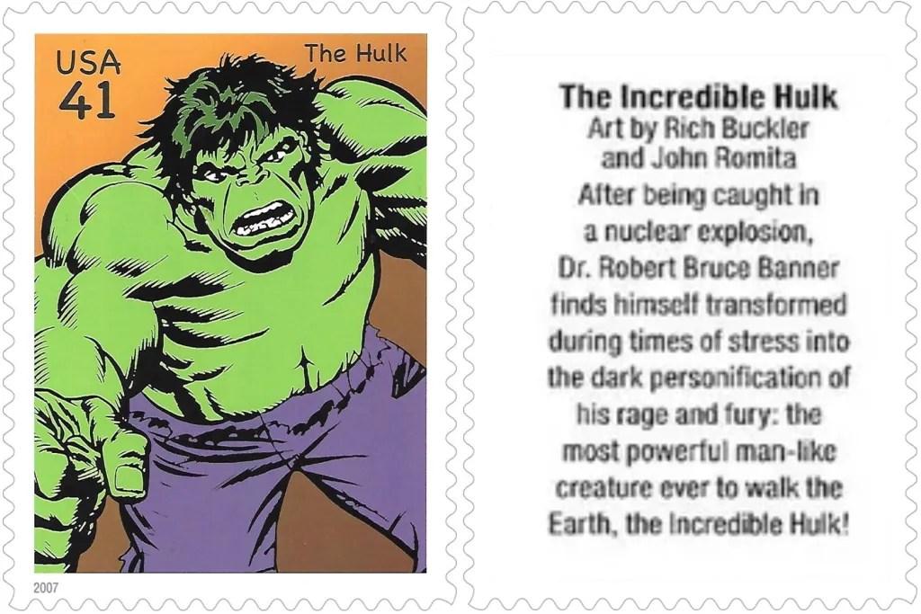Frimärket med Hulken (2007). ©USPS/Marvel