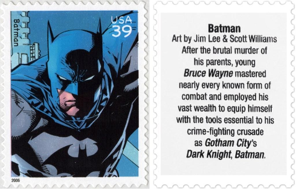 Frimärket med Batman (2006). ©USPS/DC
