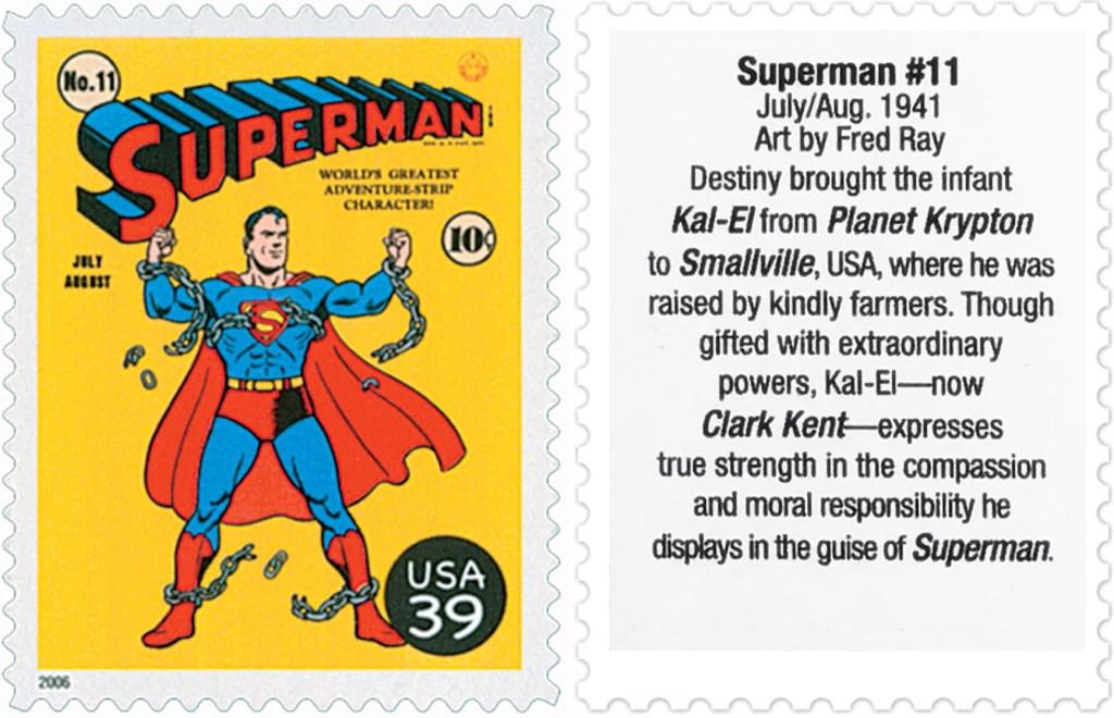 Frimärket med omslaget till Superman #11 (1941). ©USPS/DC