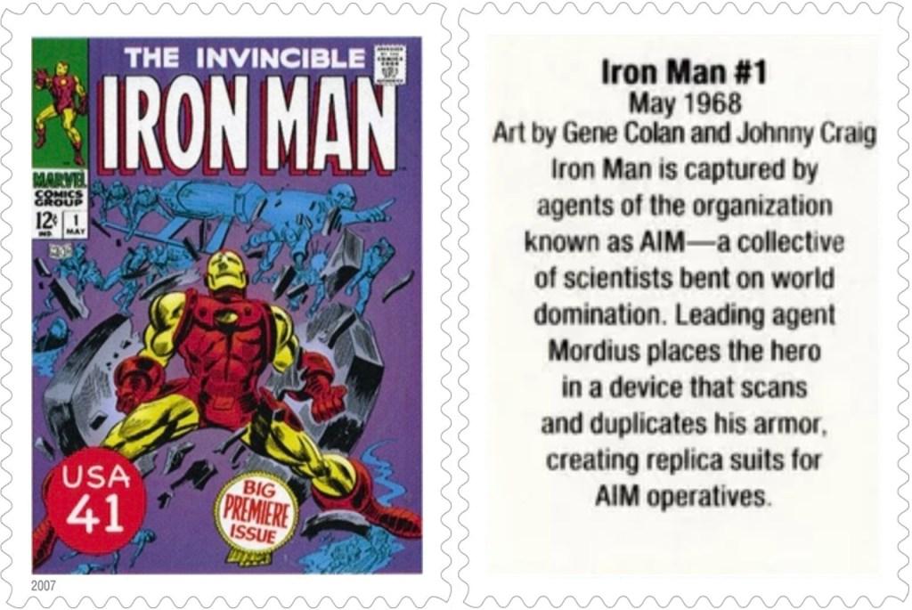 Frimärket med Iron Man #1 (1968). ©USPS/Marvel