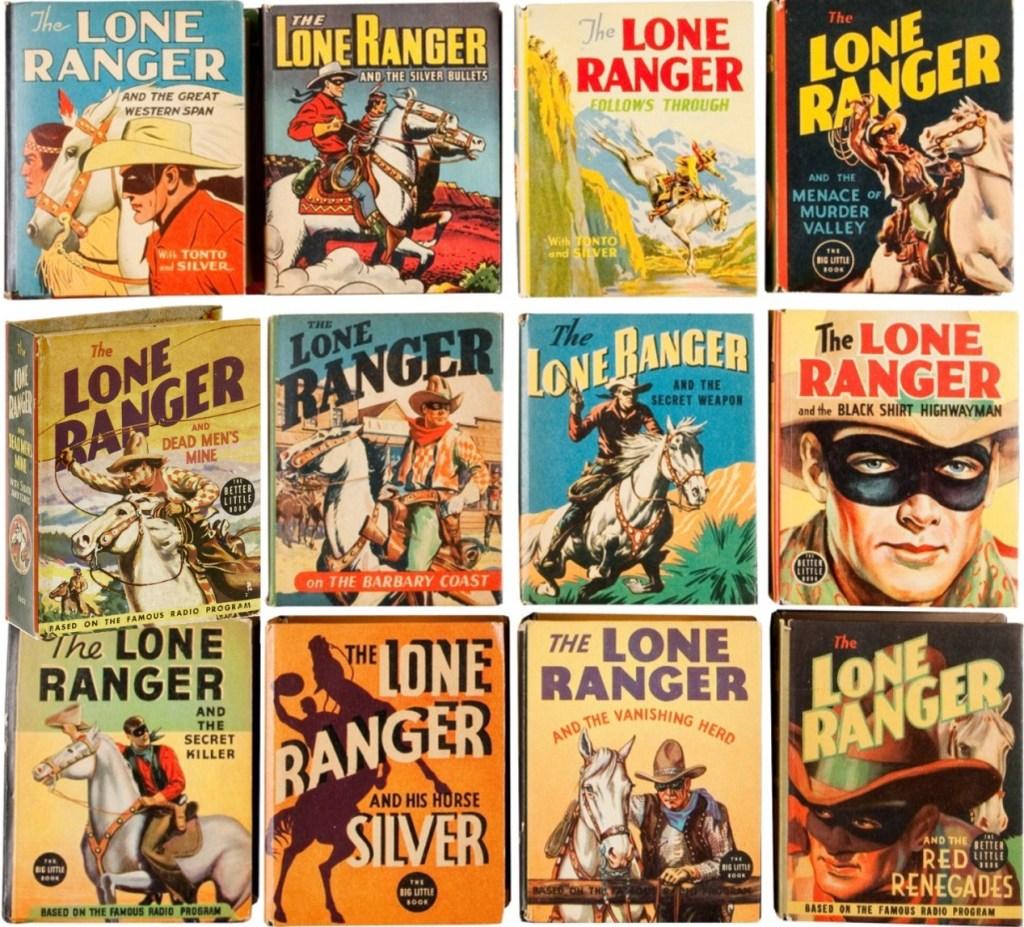 Omslag till några Big Little Books med Lone Ranger (1935-46). ©Whitman
