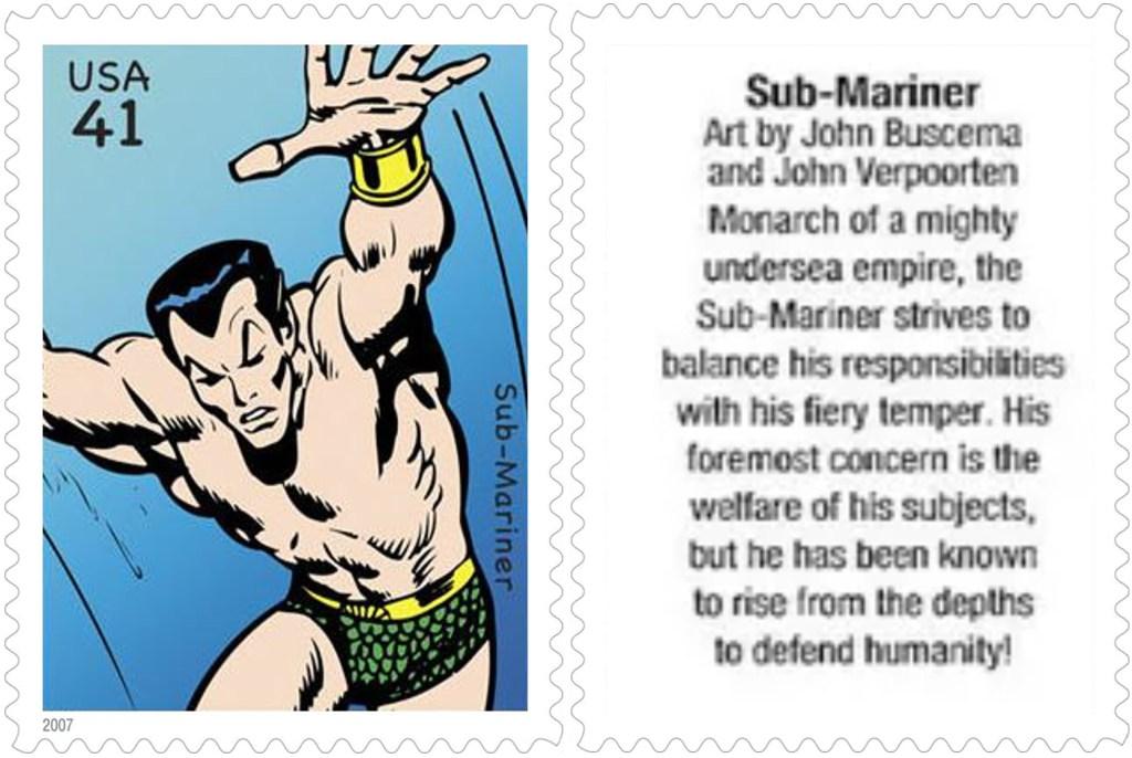 Frimärket med Sub-Mariner (2007). ©USPS/Marvel