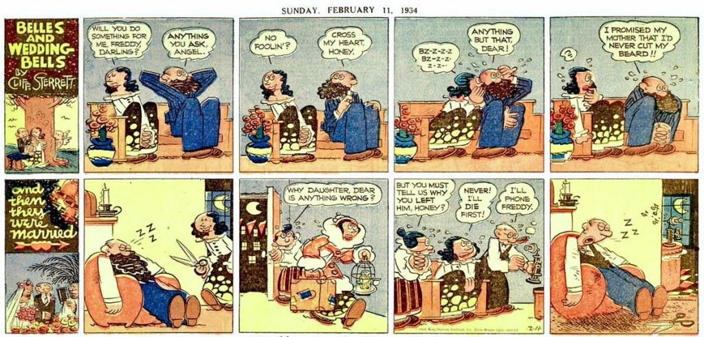 Söndagsstripp från 11 februari 1934. ©KFS