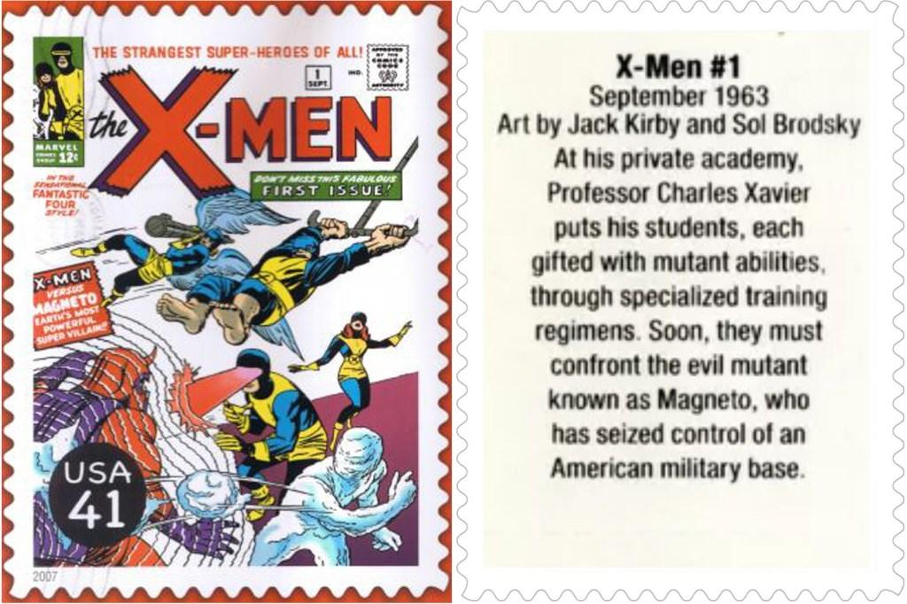 Frimärket med X-Men #1 (1968). ©USPS/Marvel