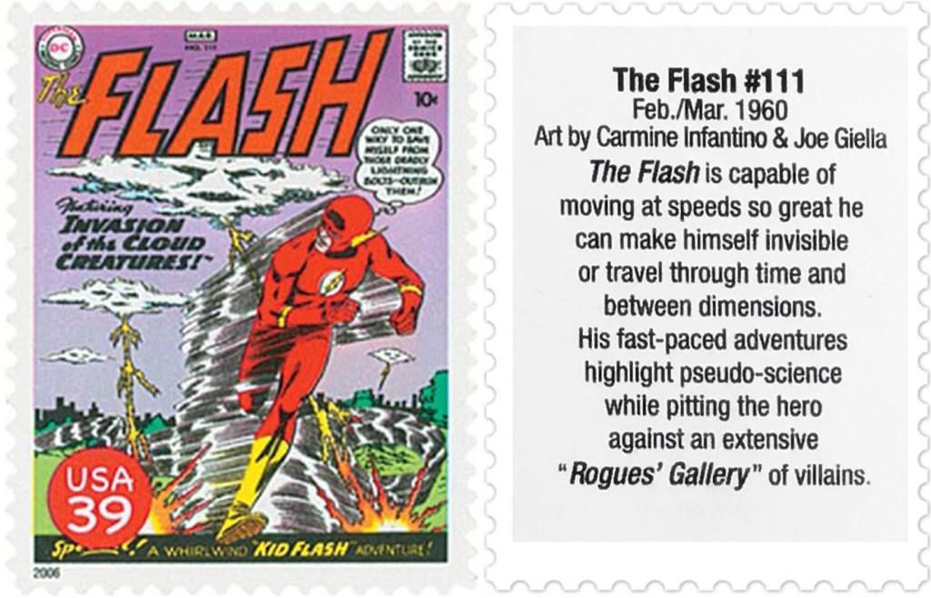 Frimärket med omslaget till The Flash #111 (1960). ©USPS/DC
