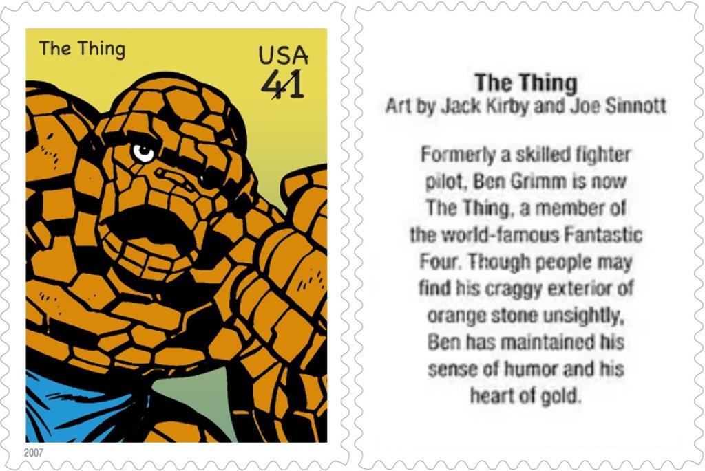 Frimärket med The Thing (2007). ©USPS/Marvel