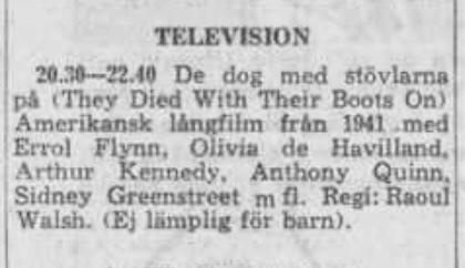 Programtablån för svensk TV den 14 oktober 1959. ©DN