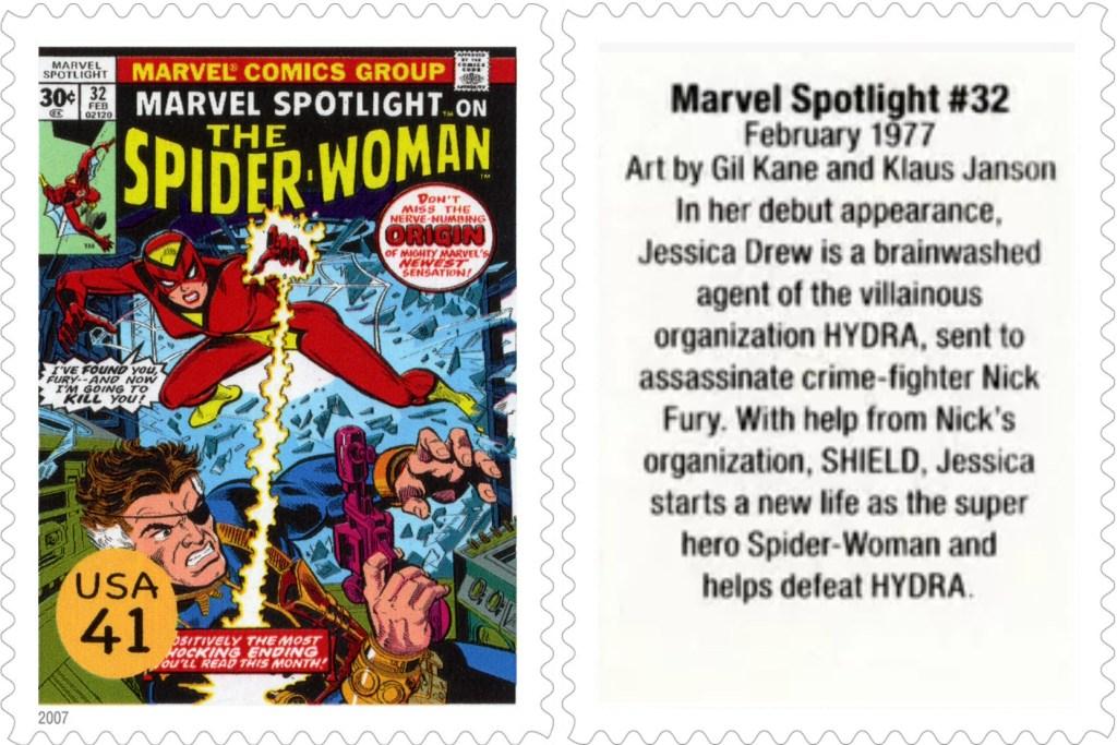Frimärket med Marvel Spotlight #32 (1977). ©USPS/Marvel