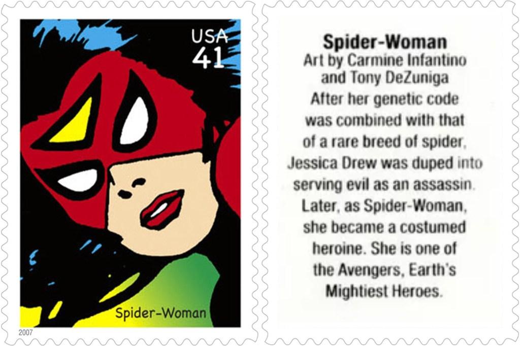 Frimärket med Spider-Woman (2007). ©USPS/Marvel
