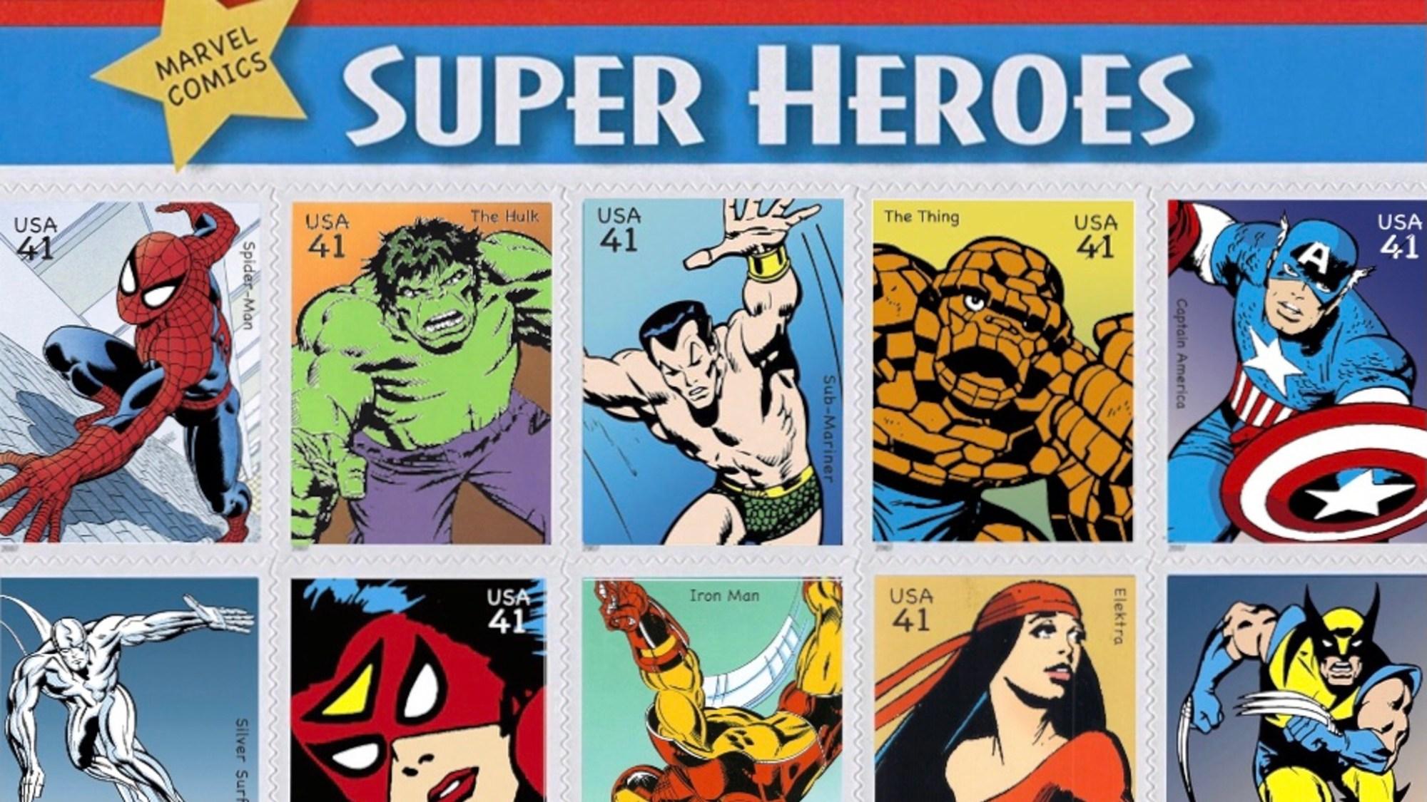 Frimärken med Marvel-superhjältar
