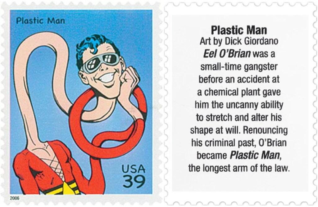 Frimärket med Plastic Man (2006). ©USPS/DC