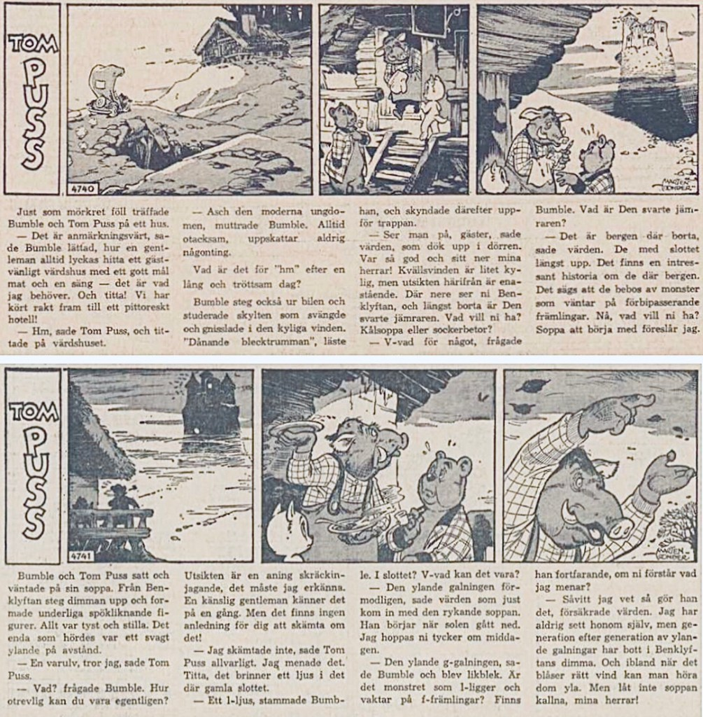 Motsvarande inledning i DN 27-28 maj 1963 (#4740-4741, samlingsvolymen från Gebers saknade första strippen i episoden). ©Toonder