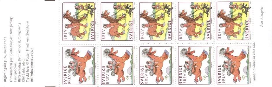 Frimärkshäftet Hästen Hårfagre (2002). ©PostNord