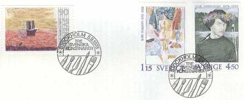 Frimärksserien Tre svenska konstnärer (1978). ©PostNord