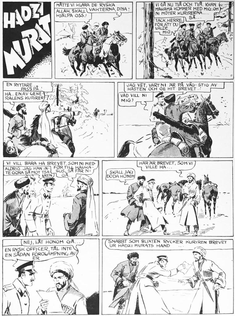 En sida med Hadzi Murat ur Veckans serier nr 10, 1942.