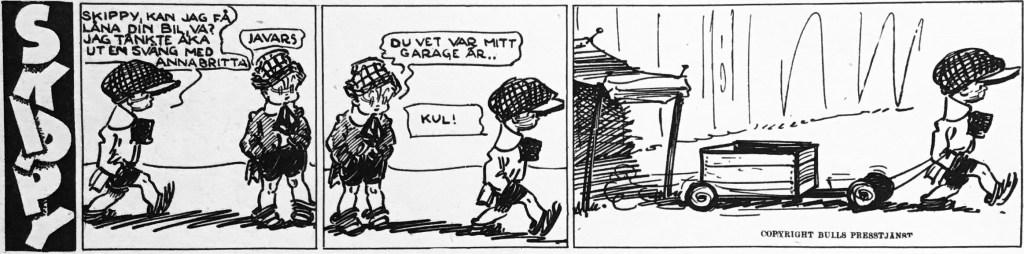 En dagsstripp med Skippy ur Veckans serier nr 5, 1943. ©Bulls
