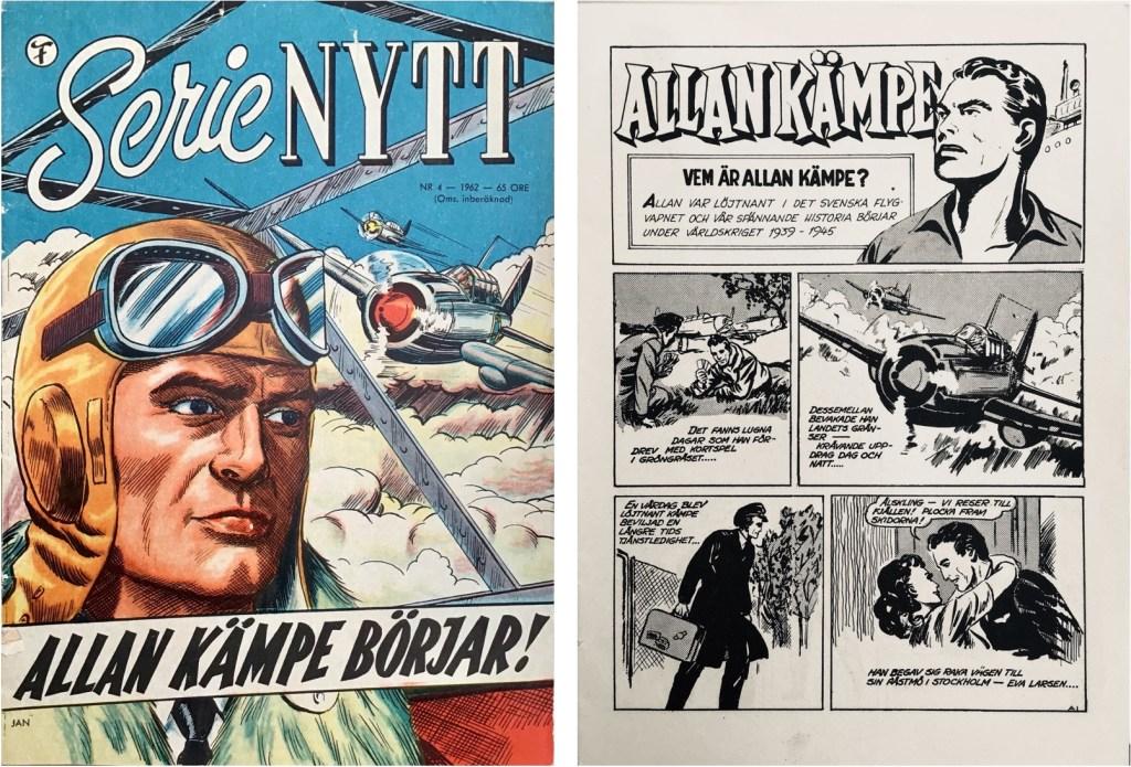 Omslag till SerieNytt nr 4, 1962 och inledande sida till Allan Kämpe, som börjar en liten bit in i episoden. ©Formatic/Bulls