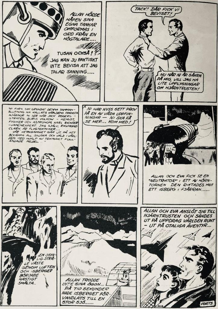 Sista sidan av episoden ur SerieNytt nr 4, 1962. ©Bulls