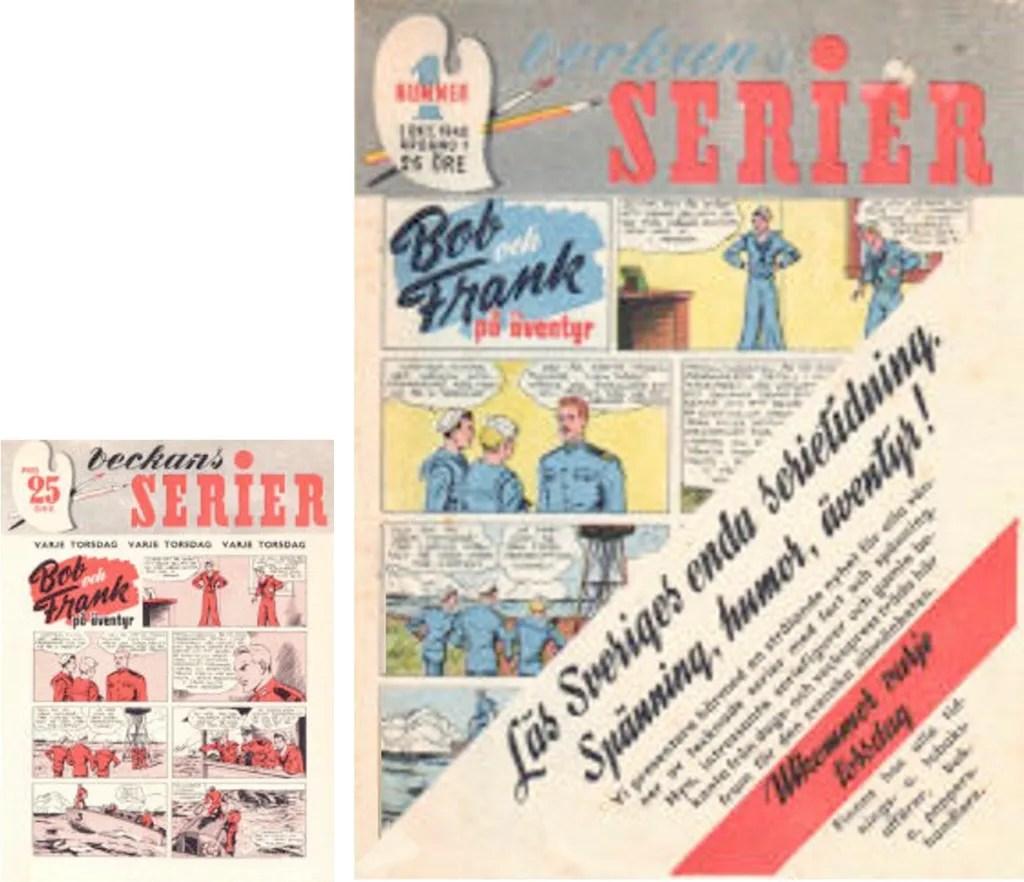 Reklamnumret (t.v.) var en specialutgåva av nr 1, 1942, som innehöll samma serier, men i svart/rött tryck. ©Alga