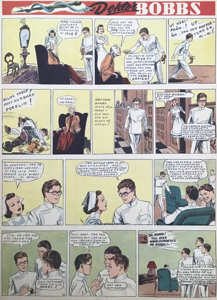 En sida med Doktor Bobbs ur Veckans serier nr 9, 1942, med dagsstrippar från 16-19 juli 1941. ©Bulls