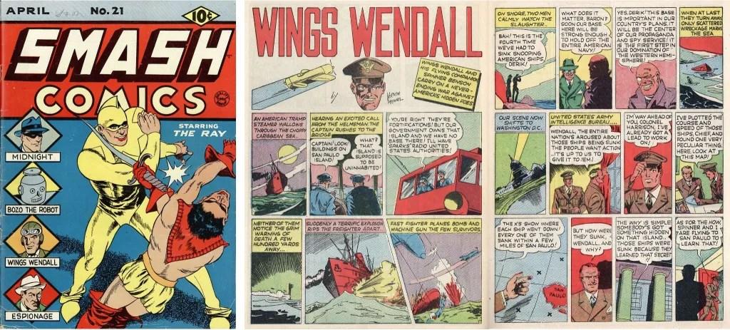 Omslag till Smash Comics #21 (1941) och ett uppslag med Wings Wendell som var en del av innehållet. ©Quality