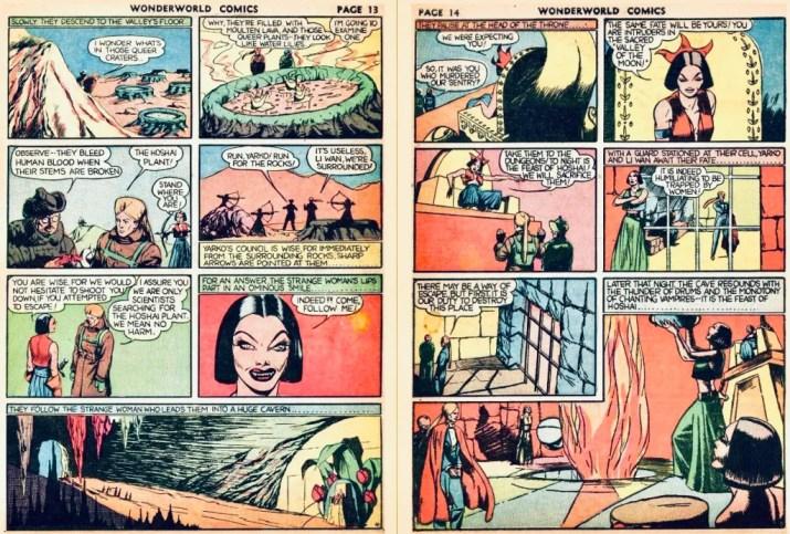 Efterföljande uppslag med motsvarande innehåll som i Veckans serier nr 9-10, 1942. ©Fox