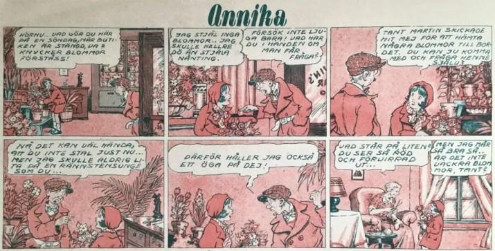 En stripp med Annika ur Veckans serier nr 38, 1943, tecknad av Brandon Walsh. ©Bulls