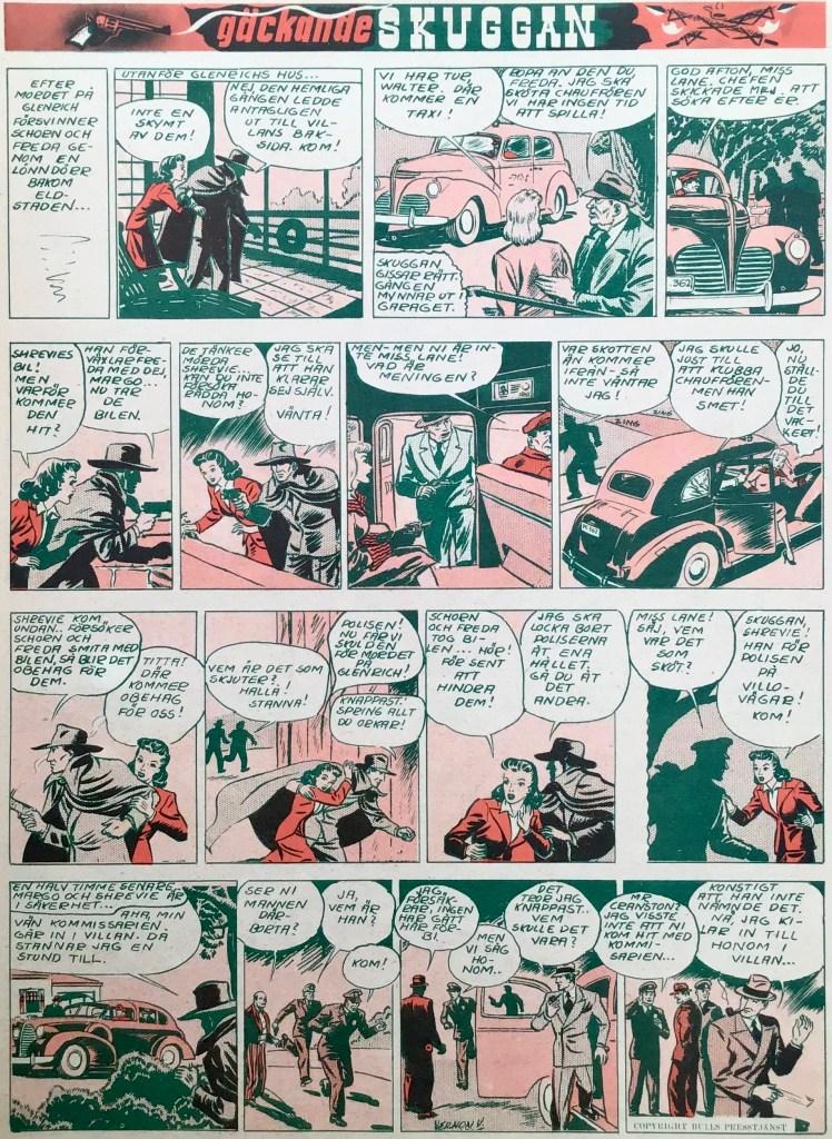 En sida med Gäckande Skuggan ur Veckans serier nr 3, 1943. ©Bulls