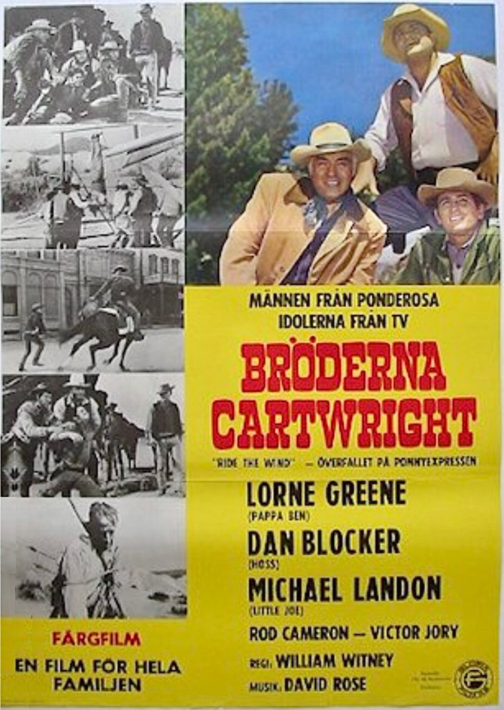Två episoder av tv-serien, nr 17-18, 1966 gick på bio i Sverige 1967 i filmen Bröderna Cartwright: Överfallet på Ponnyexpressen (Bonanza: Ride the Wind). ©NBC
