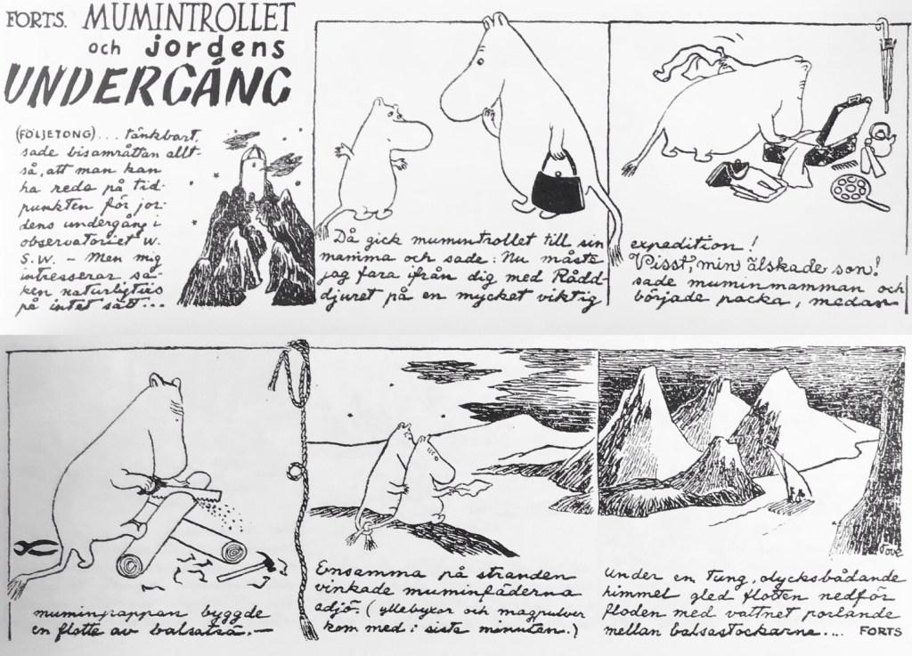 Den fjärde veckostrippen ur den första Muminserien. ©Moomin Characters