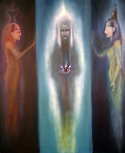 Major arcana tarot card. Painting depicts the High Priestess stood between the two goddesses of ancient Egypt Isis and Nephthys.