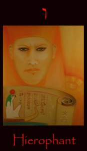 Hierophant major arcana tarot divination card. Image depicts the unfolding of the scroll of life by an Ancient Egyptian Keeper of the Mysteries