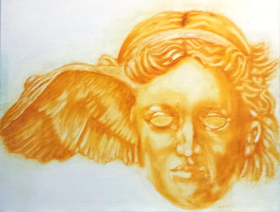 Hypnos, Greek God of Sleep and Dreams.. Painting is based on an ancient bronze head in the British Museum London