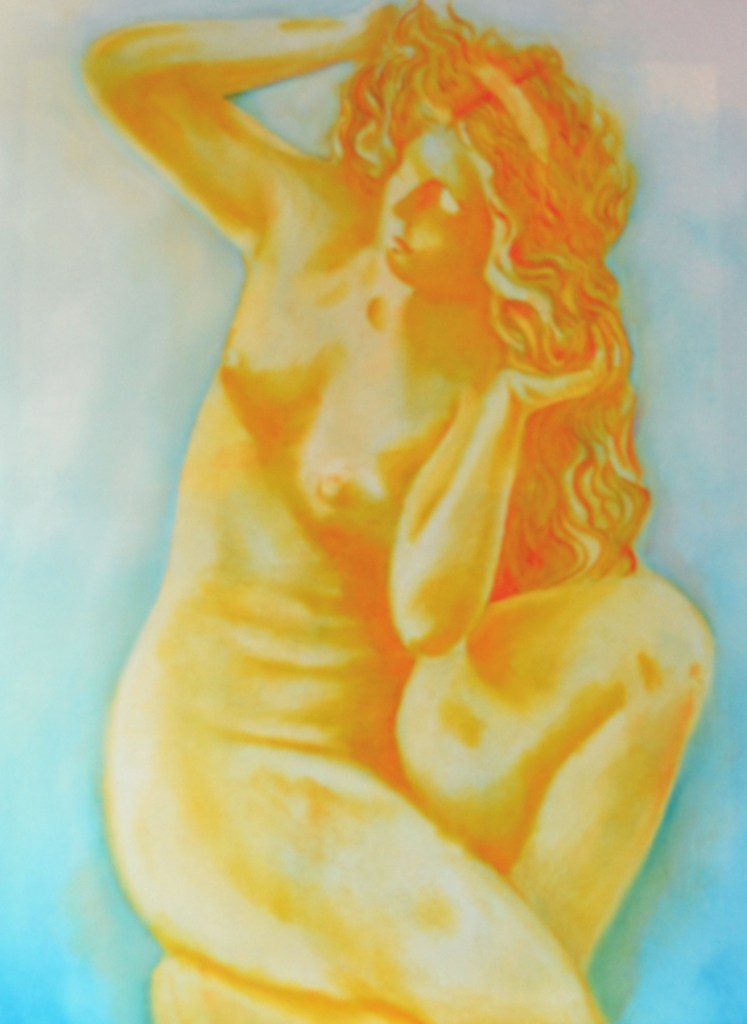 Greek Aphrodite of Rhodes inspired by Inspired by the statue Aphrodite of Rhodes, in the Archeological Museum of Rhodes, Greece. Oil on canvas 24 inches by 18 inches , 2015. Aphrodite is depicted in yellows and orange, against a light blue, white back ground.