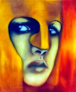 Young Athena by Minneapolis visual artist Roger Williamson. The painting depicts a head shot of young Athena as a helmeted warrior, one ready for action