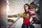 Cel Saga strikes a pose as the Atomic Wonder Woman from DC's Infinite Crisis.