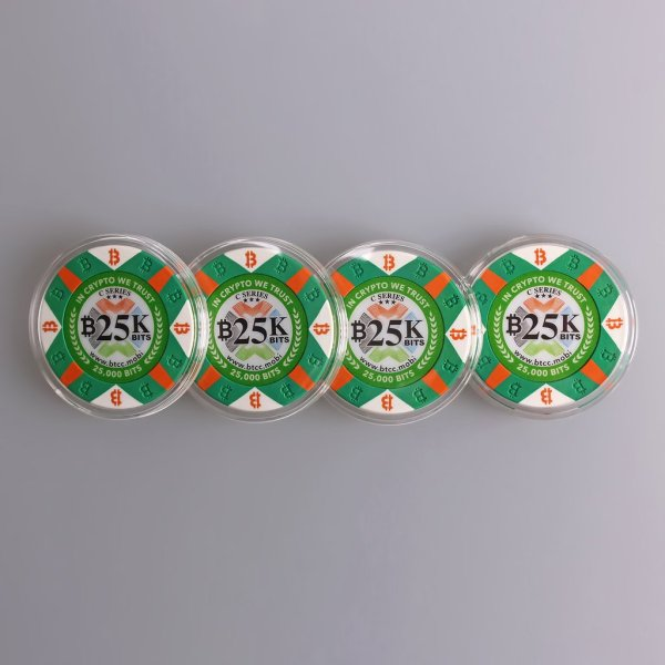 Four pieces of the limited edition Series C Green Pokership style 25K bits Physical Bitcoin.