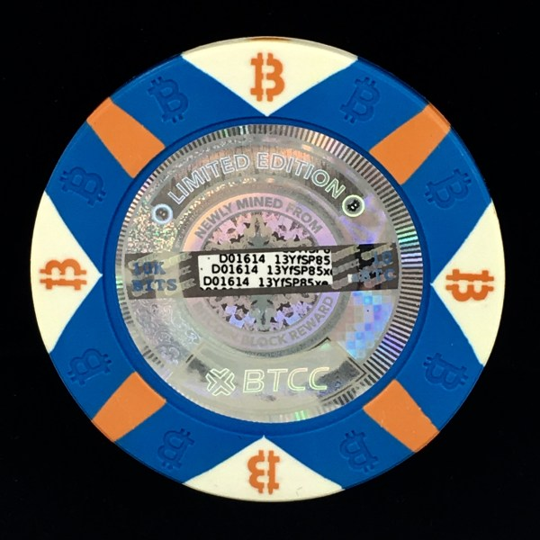 One 10K Bit Value Blue Casino Chip C series Physical Bitcoin from the BTCC Mint