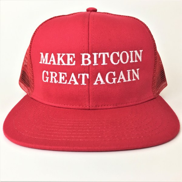 "One Red Trucker Hat with the catch phrase ""Make Bitcoin Great Again"" embroidered in white."