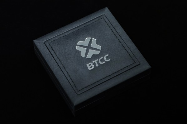Black edition of BTCC_Mint box for presentation of collectible physical bitcoins.