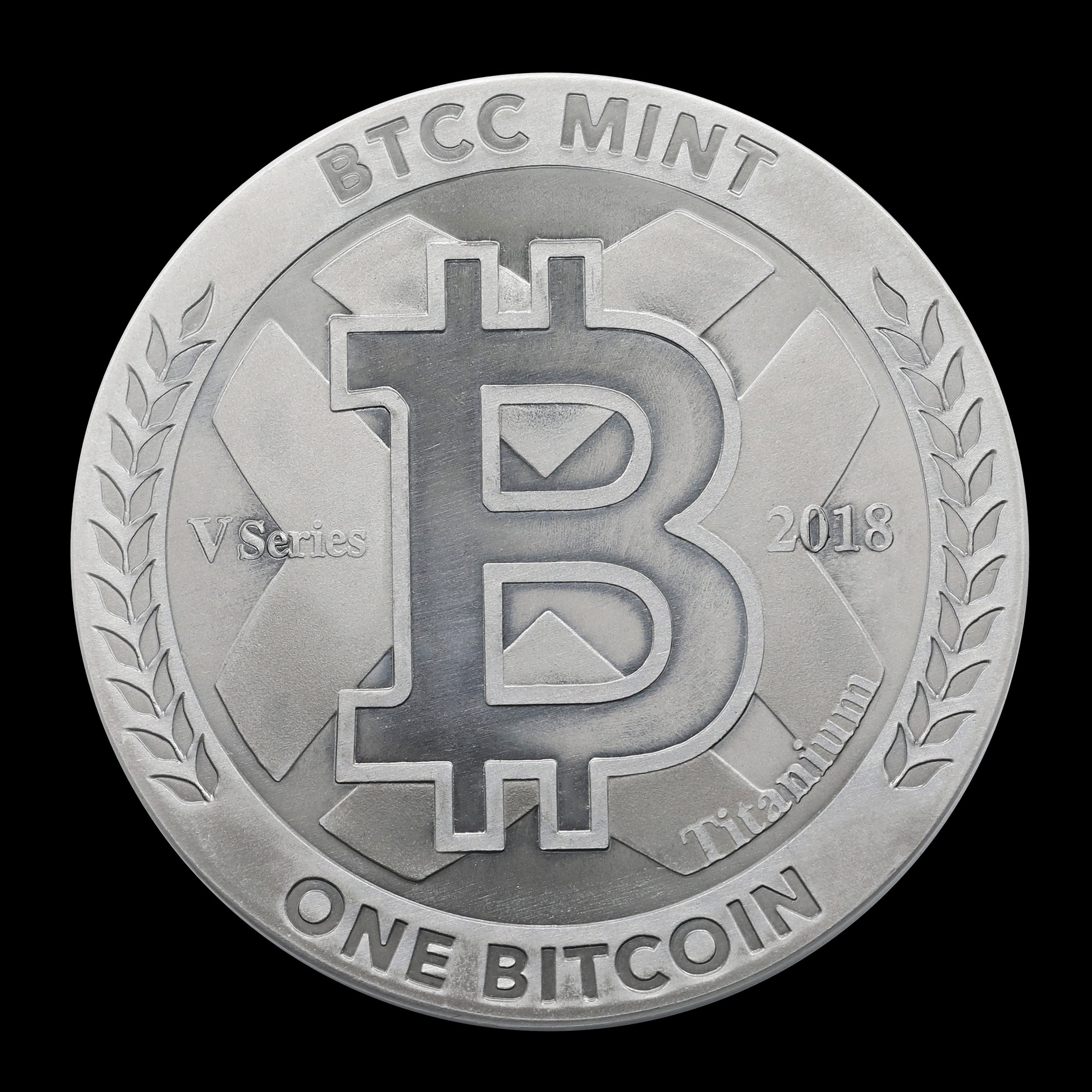 Obverse of un circulated V Series 1 BTC physical Bitcoin, titanium coin designed by Bobby Lee and the BTCC Mint