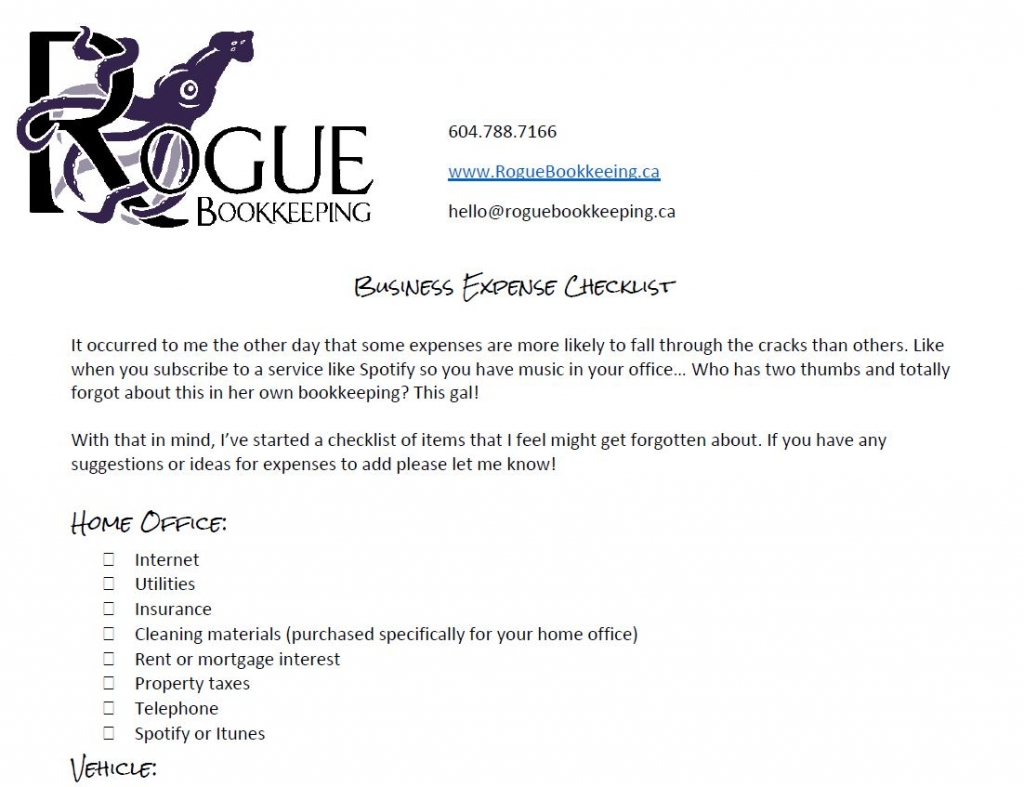 Rogue Bookkeeping Business Expense Checlist