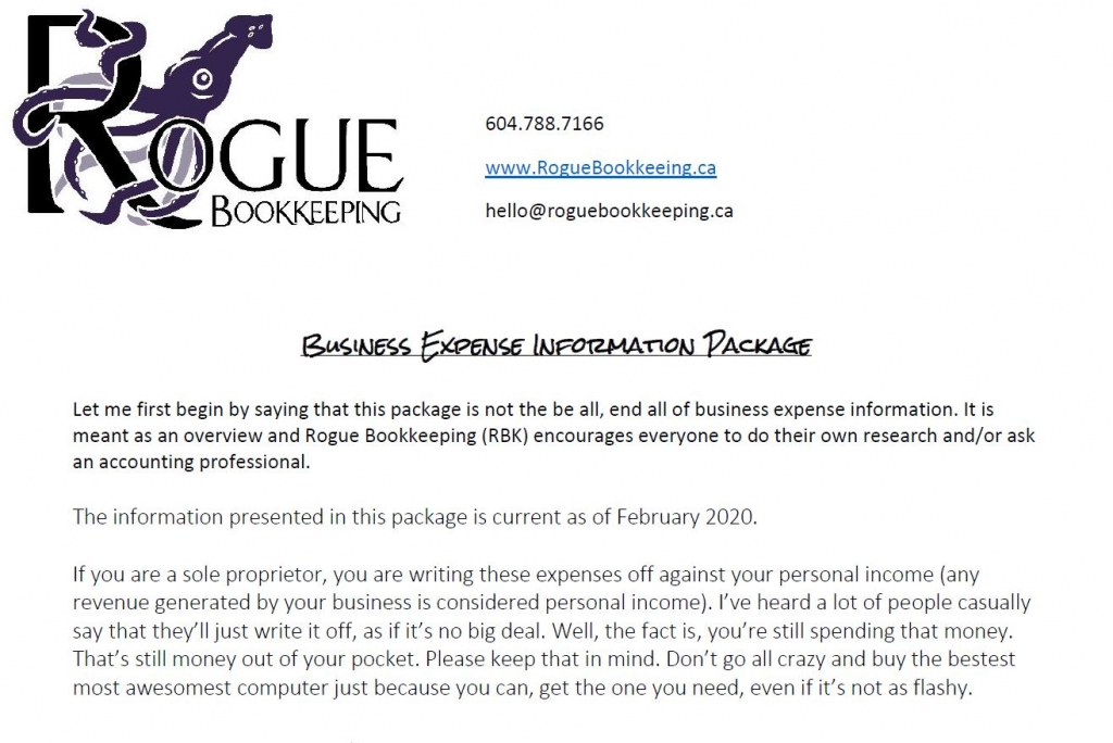 Rogue Bookkeeping Business Expense Package