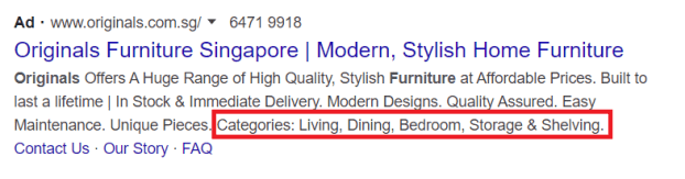 Google Ads structured snippet extension example