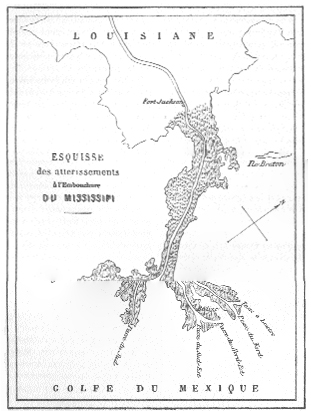 Map of Mississippi River Delta, from Reclus' Voyage to New Orleans