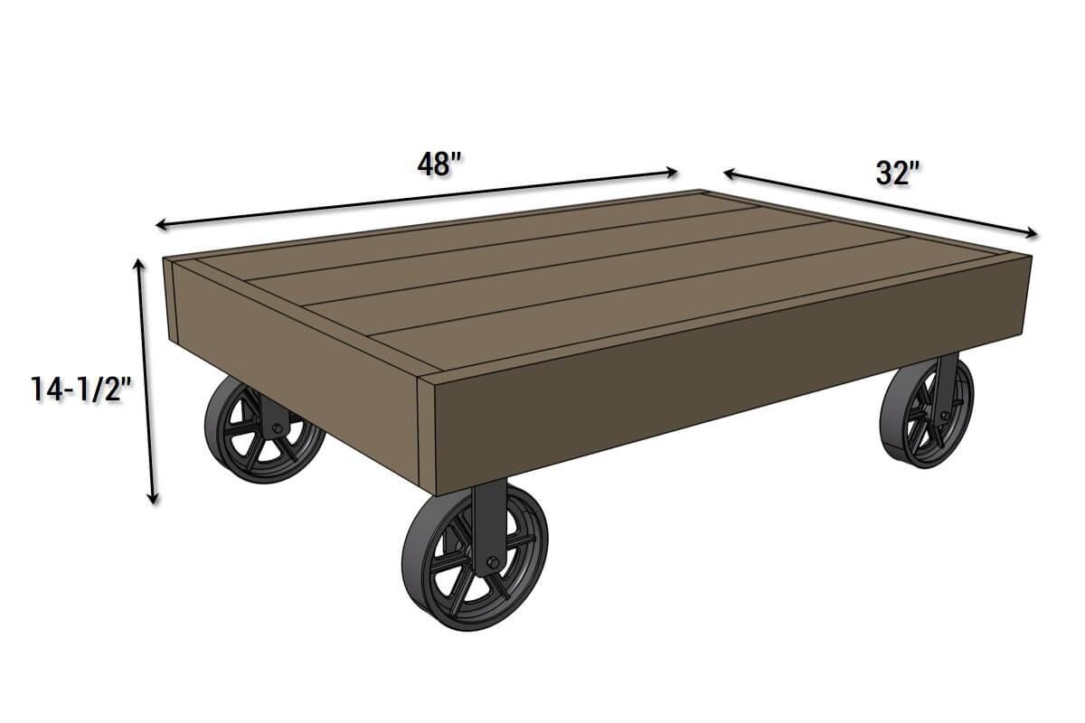 industrial cart coffee table free diy