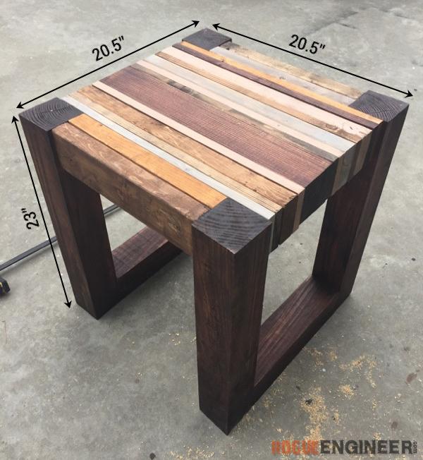 scrap wood side table free diy