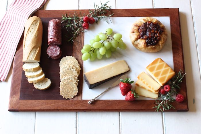 Cutting Board W Marble Cheese Plate By Rogue Engineer